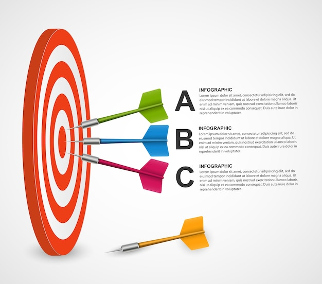 Abstract infographic template target with darts.