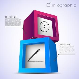 Modello astratto infografico con mattoni colorati orologio penna due opzioni