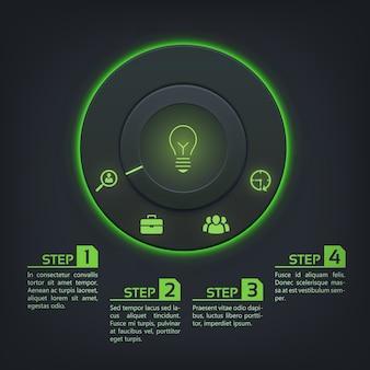 Modello astratto infographic con retroilluminazione verde pulsante rotondo quattro opzioni e icone