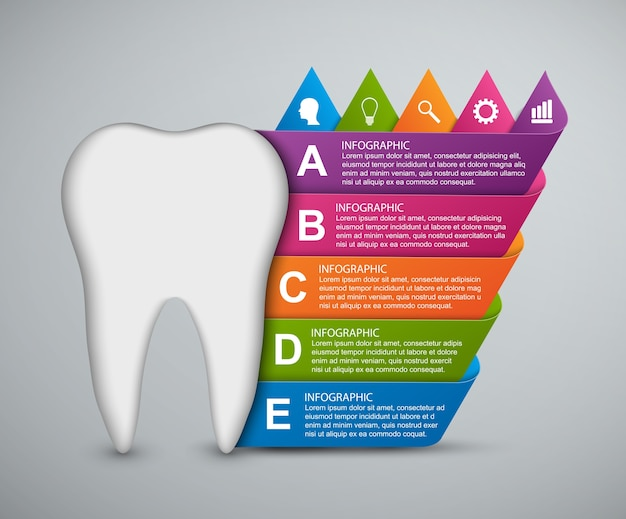 Abstract infographic tooth and colored ribbons.