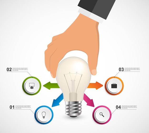 Абстрактные инфографика с человеческой рукой проведение лампочка баннер.