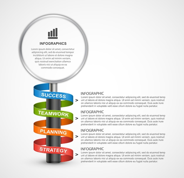 Abstract infographics design template with magnifier.