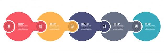 추상 infographics 숫자 옵션 템플릿입니다. 다섯 가지 옵션, 단계, 프로세스가 포함 된 타임 라인