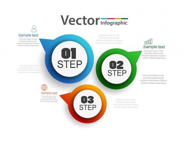 Abstract infographics number options template with 3 steps