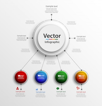Abstract   infographics number options template with 4 steps