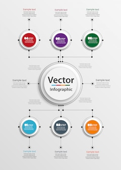 Abstract   infographics number options template with 6 steps