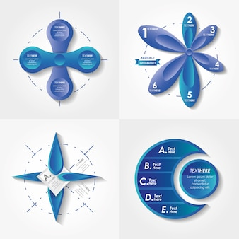 Abstract infographics sketches set icons