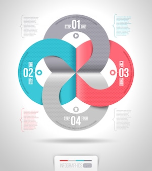 Абстрактный дизайн шаблона инфографика с пронумерованных бумажных элементов