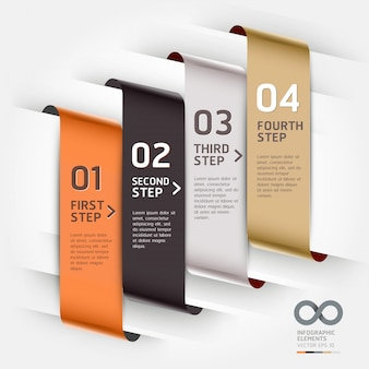 Abstract infographics template ribbon style can be used for workflow layout, diagram, number options, step up options, web design