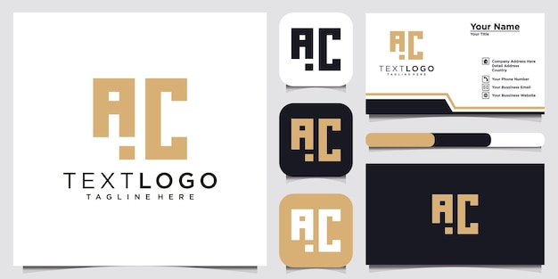 Abstract initial letter ac c a  logo design template and business card