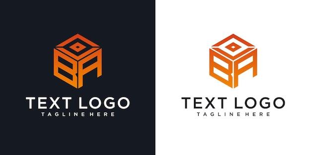 고급 그라디언트 비즈니스를위한 추상 초기 편지 ba 로고 디자인 템플릿 기술 아이콘