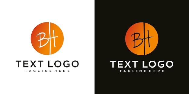 ラグジュアリーグラデーションのビジネスのための抽象的な頭文字bhロゴデザインテンプレートテクノロジーアイコン