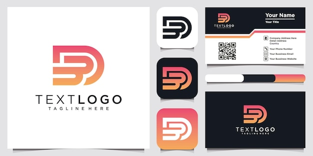 Abstract initial letter db d b minimal logo design template and business card