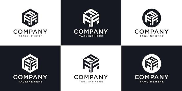 抽象的な頭文字f最小限のロゴデザインテンプレート