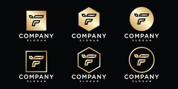 線画スタイルのロゴが付いたユニークで新しいモダンな抽象的な頭文字f
