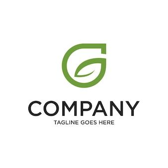 抽象的な頭文字gと葉のロゴの緑色の分離