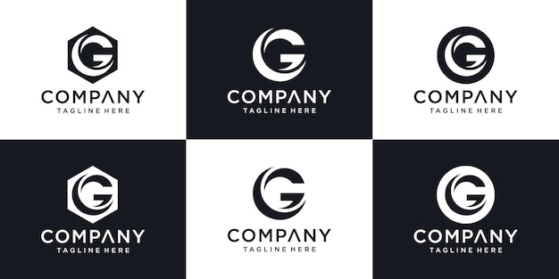 Abstract initial letter g minimal logo design template