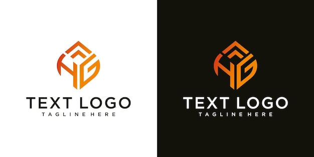 Abstract initial letter hg h g minimal logo design templat