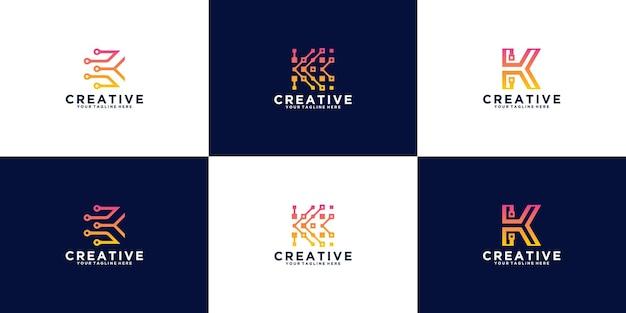 추상 초기 편지 k 로고 디자인 컬렉션