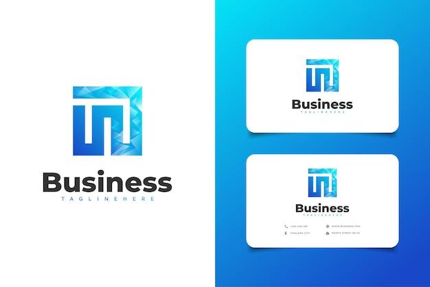 青いグラデーションでモダンなコンセプトの抽象的な頭文字mまたはnのロゴ
