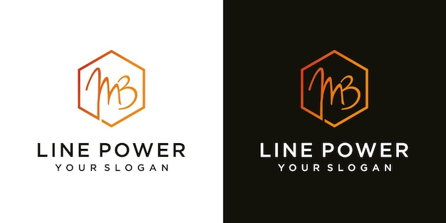 Abstract initial letter mb m b minimal logo design template