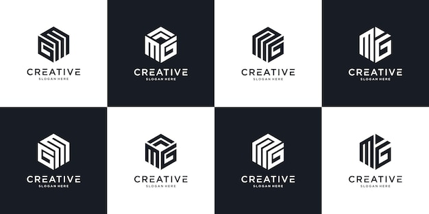 Abstract initial letter mg m g minimal logo design template