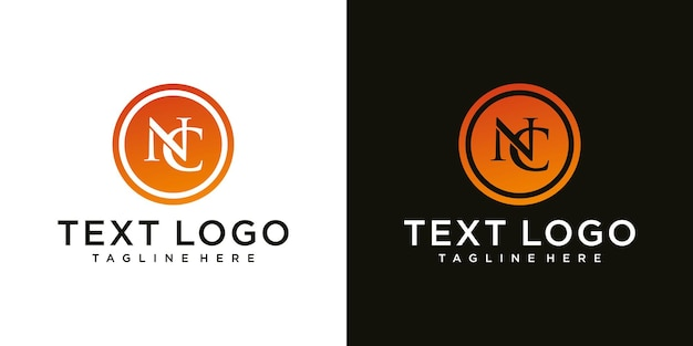 Abstract initial letter nc n c minimal logo design template