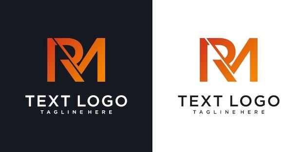 抽象的な頭文字rmrm最小限のロゴデザインテンプレート