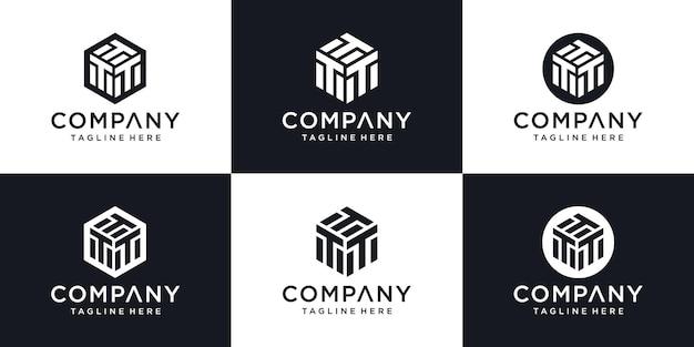 Абстрактная буквица t минимальный шаблон дизайна логотипа