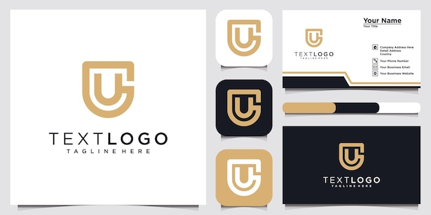 Abstract initial letter ug u g minimal logo design templat and business card