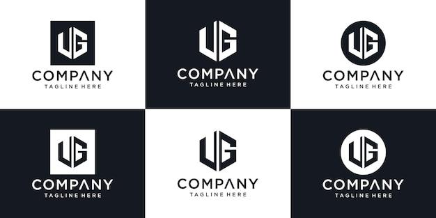 Abstract initial letter ug u g minimal logo design templat