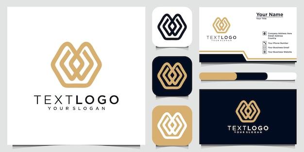 抽象的な頭文字w最小限のロゴデザインテンプレートと名刺
