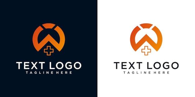 抽象的な頭文字w最小限のロゴデザインテンプレート