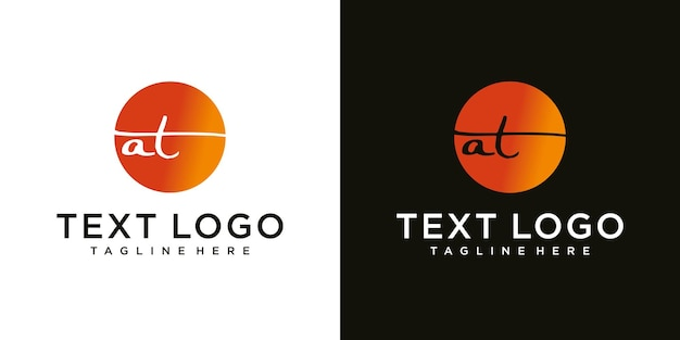 Abstract initial letter a with t logo design template technology icons for business of luxury