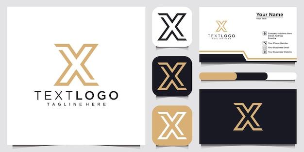 抽象的な頭文字xロゴデザインテンプレートと名刺