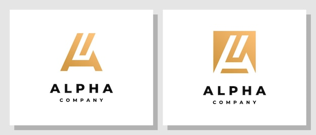 Abstract initial a logo design with square negative space