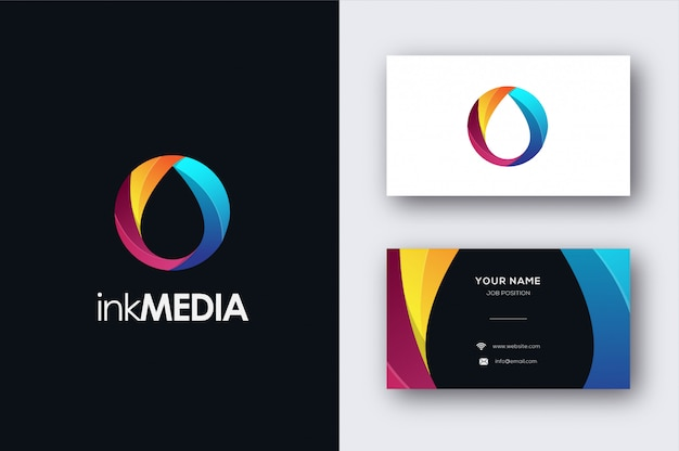 Abstract ink drop logo and business card template