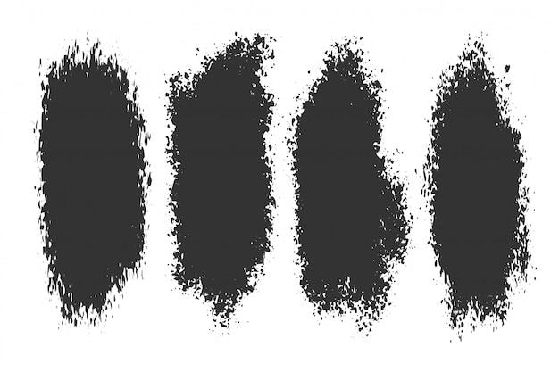 4つの抽象的なインクスプラッタグランジセット