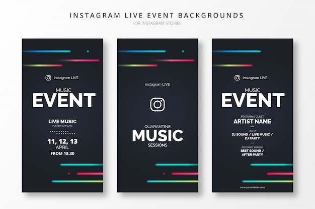 Abstract instagram live event backgrounds for insta stories