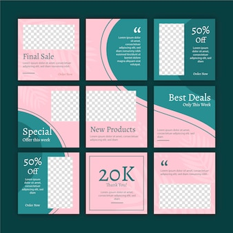 Abstract instagram puzzle feed templates