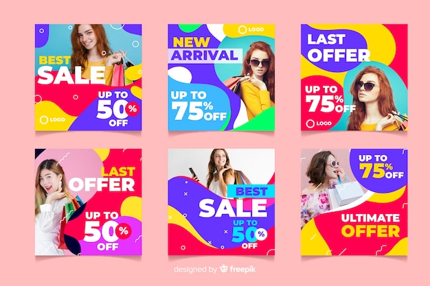 Abstract instagram sale post collection on pink background