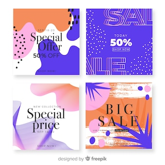 Abstract instagram sale post collection