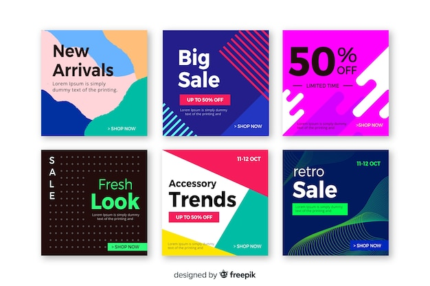 인스 타 그램 판매 포스트 컬렉션을 추상화 무료 벡터