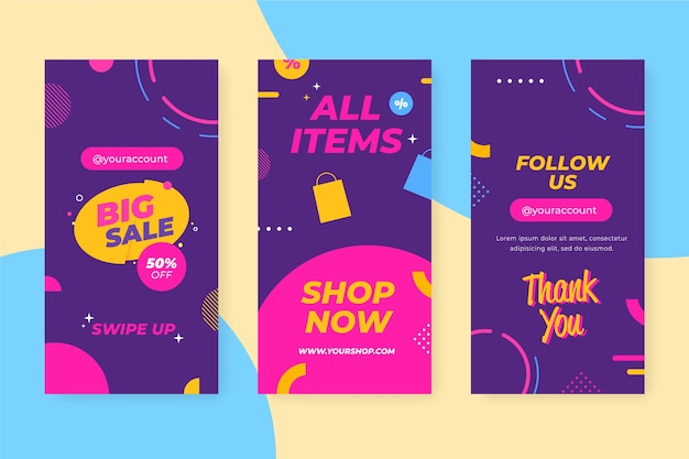 Abstract instagram sale stories template