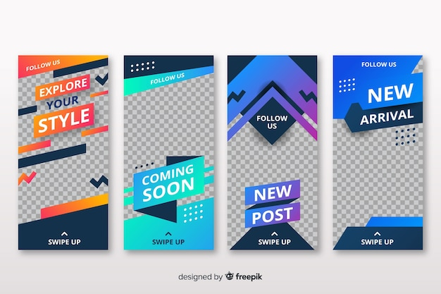 Abstract instagram stories design Free Vector