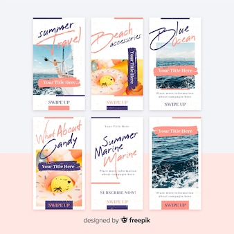 Abstract instagram stories template collection