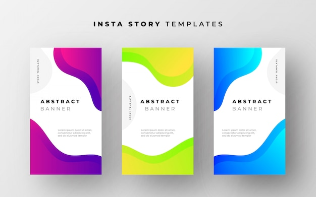 Abstract instagram story templates with fluid shapes