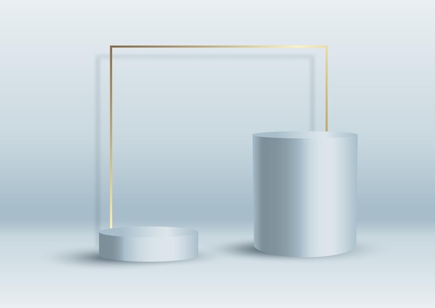 Abstract interior background with display podiums and gold frame