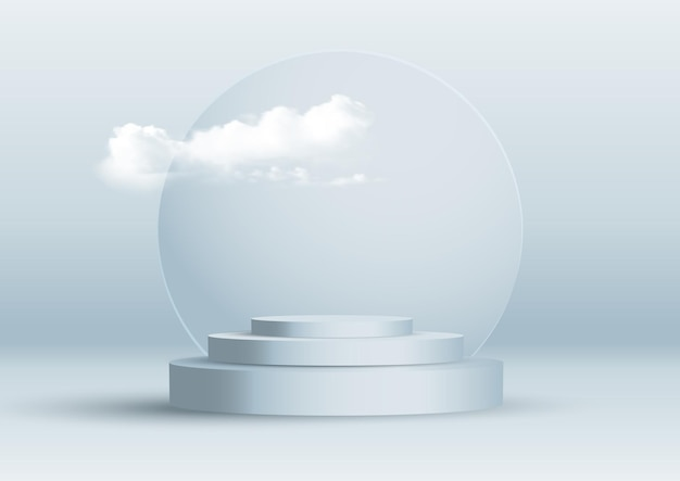 Abstract interior design with display podiums and cloud