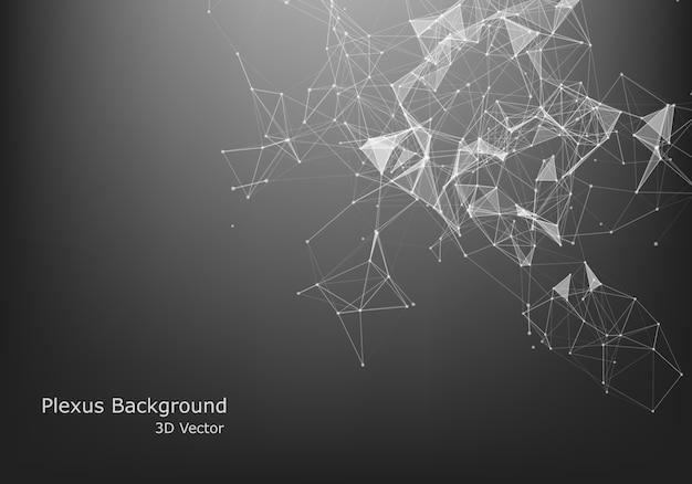 Абстрактный интернет-соединение и технологии графического дизайна. структура компьютерной геометрической цифровой связи. футуристическая черная абстрактная сетка. сплетение с частицами.